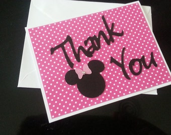Minnie Mouse Inspired Thank You Cards w/ Envelopes- Set of 15 -  Made to Order - Blank inside