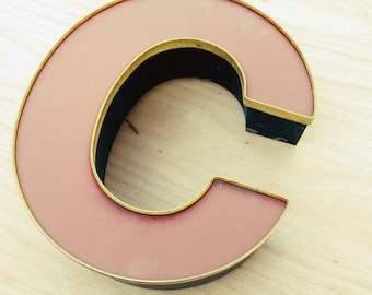 C - Reclaimed vintage letter - red and gold patina - 18 inch