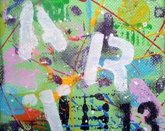 ART #1, Original Abstract Art, Urban Art, 4x4 Canvas, Acrylic Painting, Wall Art Decor