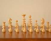 1 Set of Vintage Wooden Chess Pieces, 1920's