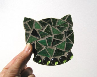 Cat Coasters, Cat Head Coasters, Crazy Cat Lady, Coffee Table Coasters, Mosaic Coasters, Gift for Women, Cat Lover Gift