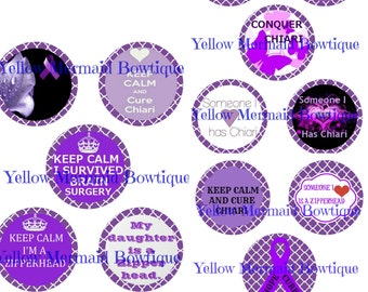"Buy ONE get FOUR FREE Large Circles Cupcake Topper 3.5"" Inch Chiari Malformation Digital Download"