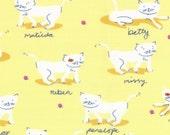 LAST PIECE Half Yard Hello Petal Kitty Cats in Delightful Yellow, Aneela Hoey, Moda Fabrics, 100% Cotton Fabric, 18563 12