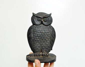 Vintage Cast Iron Owl Bookends