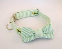Preppy Green Alligator Seersucker Bow Tie Dog Collar, Preppy Critter Dog Bowtie Collar, Striped Dog Bow Tie Collar, Green Dog Bow Tie Collar