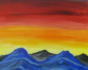 Mountain sunset painting, Original oil painting on wrapped canvas, mountain sunset