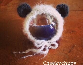 Fluffy mohair bear, panda cub crochet bonnet.  Great photo photography prop. Choose size