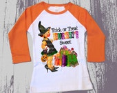 Tee Shirt Raglan Trick or Treat Halloweens Sweet inspired Childrens tshirt