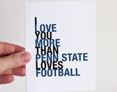 Valentine // Penn State Football Card, I Love You More Than Penn State Loves Football, Sports Gift