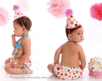 Baby Girl / Toddler First Birthday Cake Smash Outfit With Diaper Cover Party Hat & Necklace in Bright Polka Dots on White