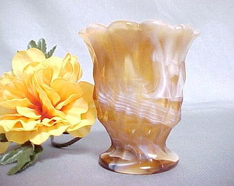 Imperial Glass Toothpick Holder, Caramel Slag End O Day Glass Vintage Collectible, 1970s Slag Glass Colored Glassware, Old Kitchen Glassware
