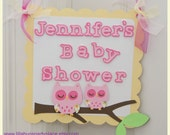 Pink Owl, Pink Owl Baby Shower, Personalized Door Sign