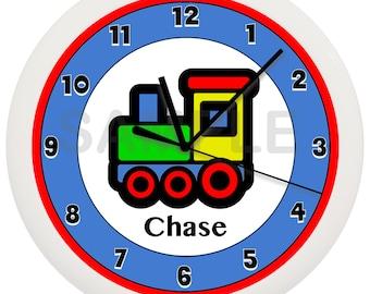 Personalized Blue or Red Choo Choo Train Nursery Wall Clock