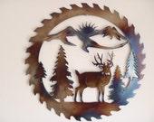 Deer Sawblade, Heat Colored Metal Art, Wall Decor, Decoration, Great Gift