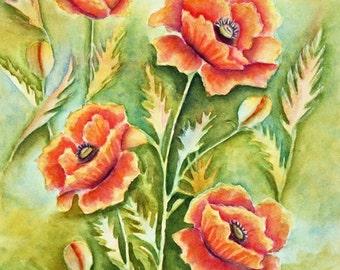 Orange Poppies Flowers Original Watercolor Painting,  matted to 16x20, Garden,  Nature, Orange,Yellow, Green,