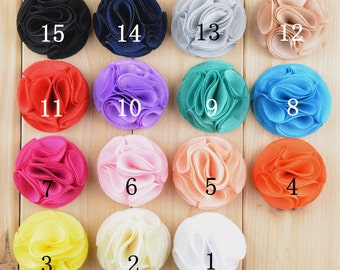 Set of 30 chiffon flower - flowers for headband - Fabric Flowers- Flower You Choose Colors-Wholesale Fabric Flower,  15 colors to pick