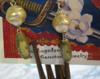 Vintage Greek Goddess and Haskell Pearl Earrings