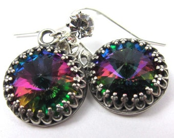 Vitrail Green Swarovski Crystal Earrings with Lots of Sparkle