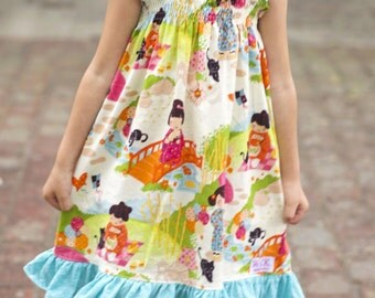 2 sisters shirred  Dress (12 mos,  18 mos,24 mos,  2T, 3T, 4T, 5, 6 )