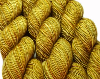 sw merino wool nylon sock yarn GOLDEN BARLEY hand dyed fingering weight