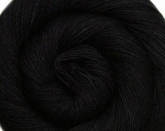 basic sock yarn BLACK PEARL hand dyed sw wool nylon fingering weight 3.5oz 460 yards