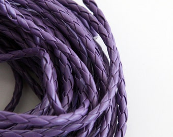 Purple Braided Bolo Leather Cord (5mm) 1m - 1yard S 40 101