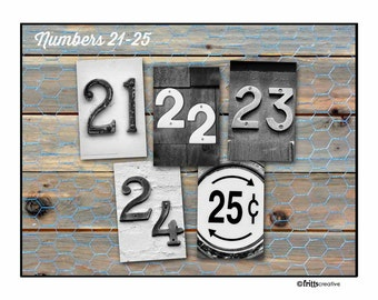 NUMBER Photo and DATE Photo, numbers 21-25, 4x6 photo number, print only