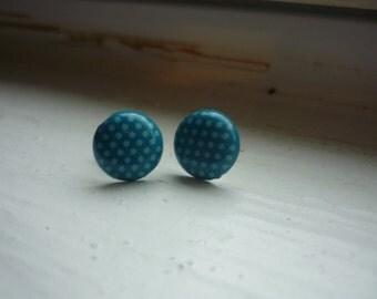 Bright blue polka dot earrings