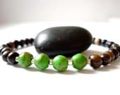 Wooden Mala Bracelet, Mala Beads, Green Howlite Beads, Silver Beaded Bracelet, Yoga Bracelet