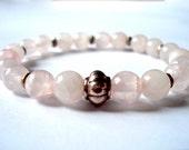 Rose Quartz Meditation Bracelet, Rose Quartz, Silver Beaded Bracelet