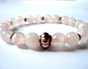 Rose Quartz Meditation Bracelet, Rose Quartz, Silver Beaded Bracelet