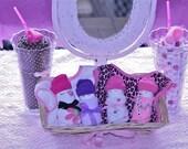 Unique Baby Girl Gift Set Shower Gift or Centerpiece Diaper Babies & Washcloths/2 Bibs
