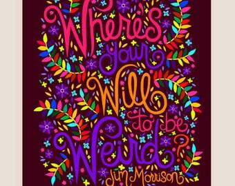 8x10-in Jim Morrison Quote Illustration Print.