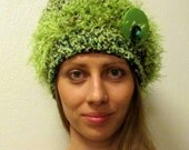 Funky Fun Hat Emerald-Lime-Forest Green-Dark Brown Crocheted Cloche, S-L