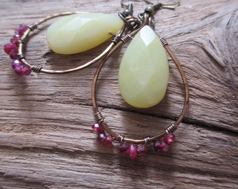 Olive Jade and Ruby Garnet Wrapped Teardrops - Hand Hammered Artisan Jewelry