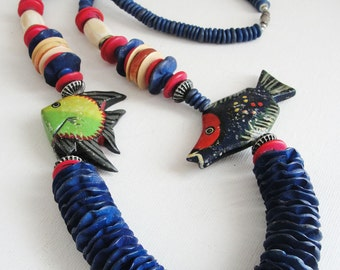 Vintage Wood Bead Colorful Blue Rainbow Tropical Statement Painted Fish Necklace