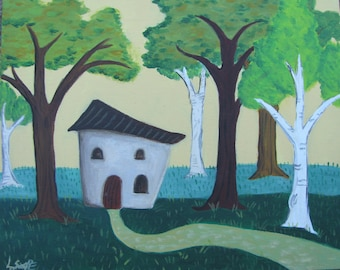 Little Cob House in the Woods 8x10 original painting