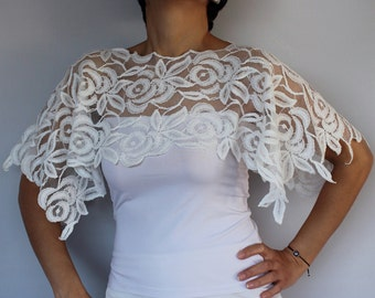 Cotton Lace Bridal Cape Shrug, White Fall Weddings Bolero Top Wear Poncho, Romantic Lace Top