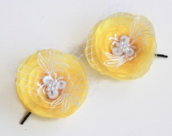 Yellow Bridal Flower Hairpiece, Set of 2, Wedding Hair Flower, Organza Hair Pins Fascinator, Summer Wedding