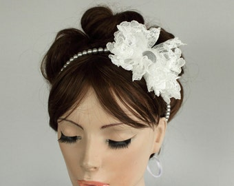 Gray Pearl Bridal Headband, Fluffy Lace Tulle Flower, Silver Romantic Minimal Classic Weddings