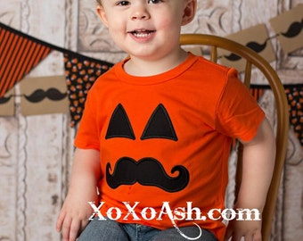 Mustache Jack-o-Lantern Pumpkin Halloween Shirt--Embroidered shirt or Bodysuit