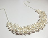 Swarovski White Ivory Pearl Cluster Necklace, Wedding Bridesmaid Jewelry, Christmas Gift, Mom Sister Jewelry Gift, Chunky Necklace