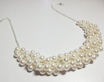 Swarovski White Ivory Pearl Cluster Necklace, Mom Sister Grandmother Bridesmaid Jewelry Gift, Chunky Necklace