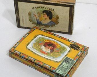 Vintage Cuesta-Rey & Garcia y Vega Cigar Boxes Pair