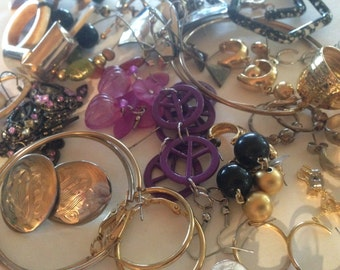 30 Pair Earrings Pierced Clip Vintage Rhinestone De-stash lot 283