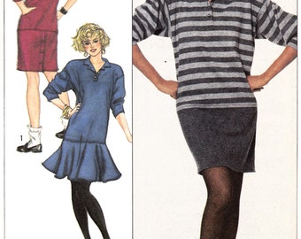 "Womens Sewing Pattern Loose-Fitting Knit Dress Flare or Straight Skirt Bust 30.5-34"" Sizes 6-12 Simplicity 8228"