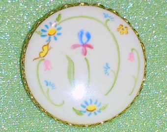 Vintage Floral Design Painted Porcelain Brooch