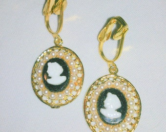 Vintage Black and White Cameo Drop Earrings