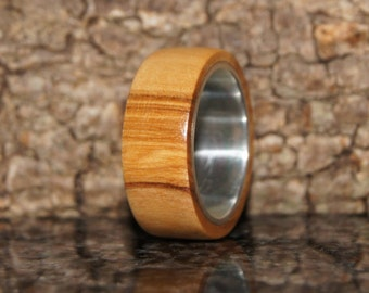 Olive wood and sterling silver ring - Wood Ring Size 7