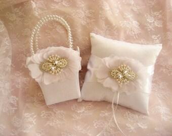 Flower Girl Basket Set, Ring Bearer Pillow and Basket in White